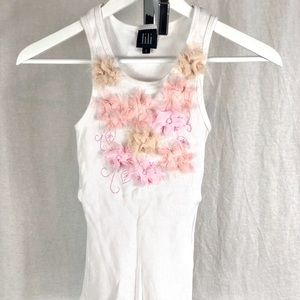 Lili white cotton tank with floral embellishment